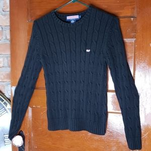 Vinyard Vines Cable Knit Black Sweater Size Medium